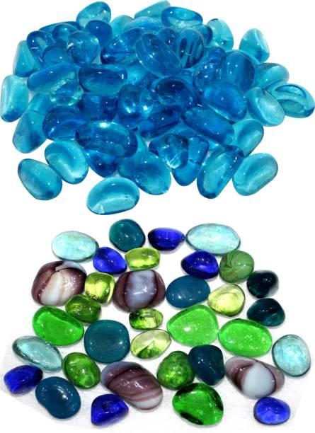 ADIOS Combo of Blue & Multi Colors Aquarium Marbles, Aquarium Stones for Garden and Aquarium Decor Pebbles River Rock Unplanted Substrate