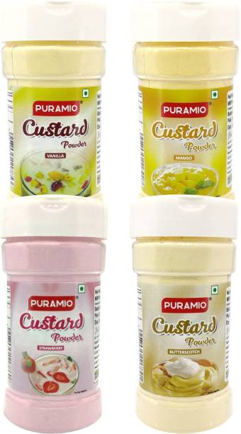 PURAMIO Combo (Vanilla, Strawberry, Mango & Butterscotch), Custard Powder