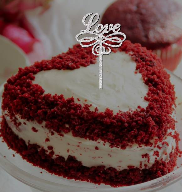 Creatick Studio Love Cake Topper for Special one to celebrate a Special Day With Loved Ones- Valentines Day Special_SSCT163 Cake Topper