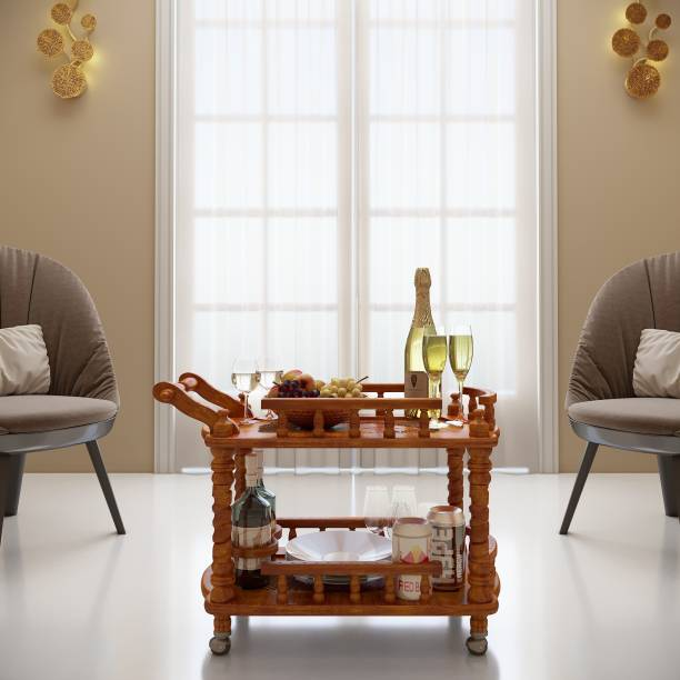 House of Pataudi wooden carved service trolley/bar trolley/kitchen trolley Solid Wood Bar Trolley
