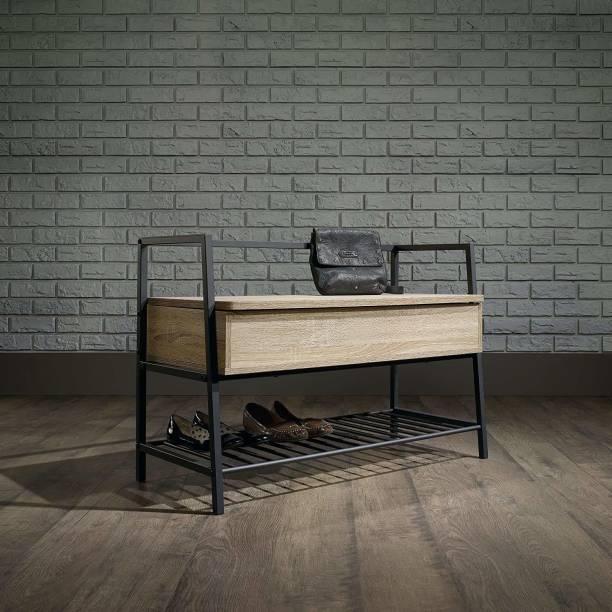 PRITI Storage Bench, Charter Oak Finish Metal 3 Seater