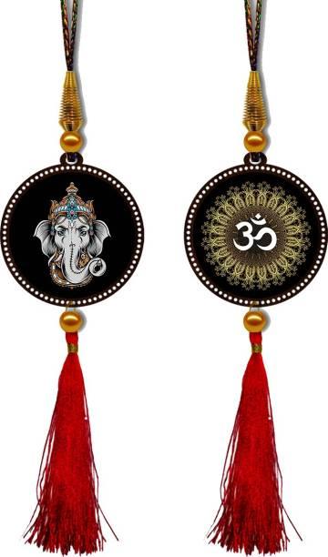 GiftzLane Lord Ganesha & Om Premium Car Hanging Combo (Set of 2) with Big / Long Hanging Threads Car Hanging Ornament
