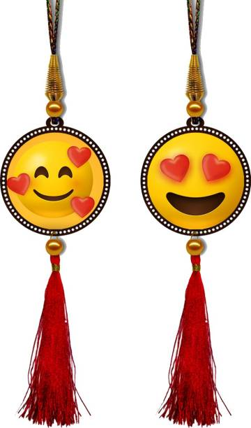 GiftzLane Cute Smileys Premium Car Hanging Combo (Set of 2) with Big / Long Hanging Threads Car Hanging Ornament