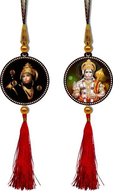 GiftzLane Lord Hanuman Premium Car Hanging Combo (Set of 2) with Big / Long Hanging Threads Car Hanging Ornament