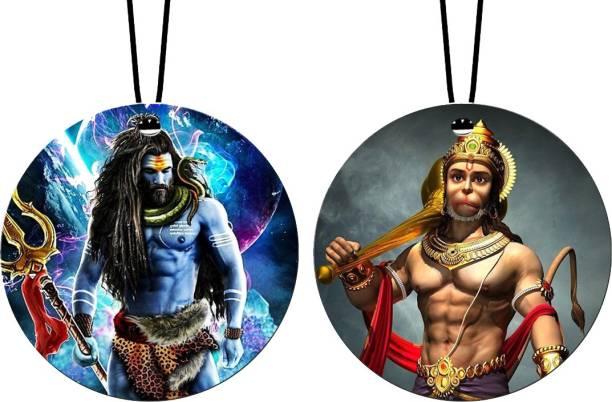 GiftzLane Lord Shiva Rudra Roop & Lord Hanuman Car Hanging Combo (Set of 2) with Big / Long Hanging Threads Car Hanging Ornament