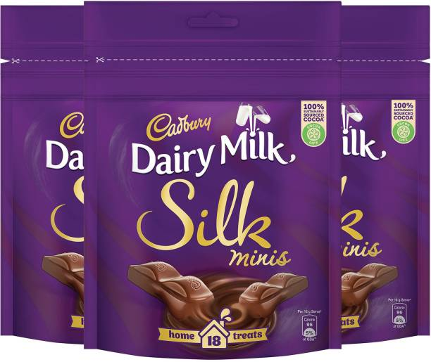 Cadbury Dairy Milk Silk Chocolate Home Treats, 162g - Pack of 3 Bars