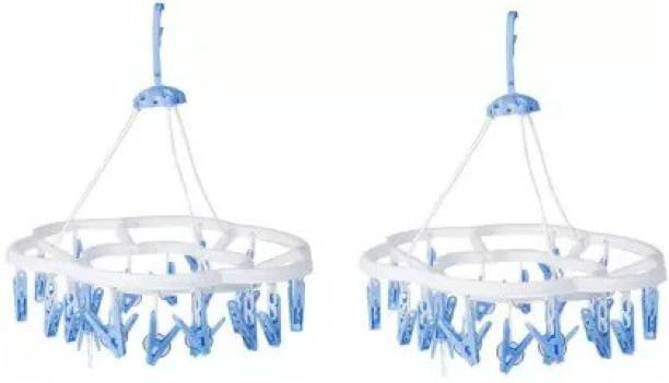 River Plast Hanging Garden Round Cloth Drying Clip Holder With 24 Clips Plastic Cloth Clips