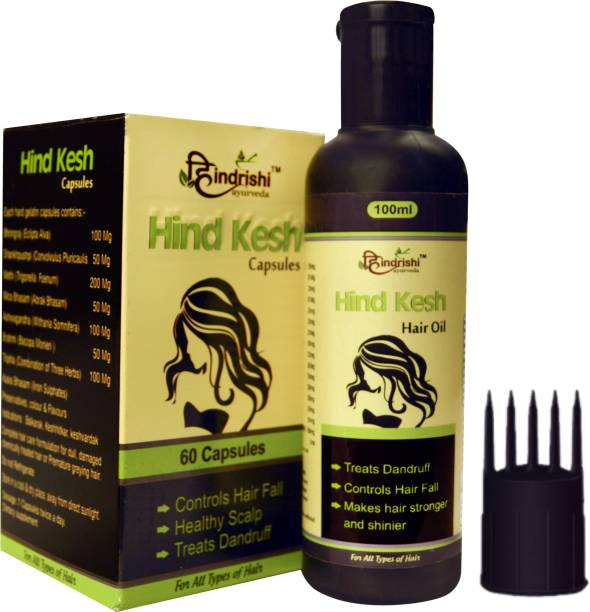 Hindrishi Ayurveda Hind Kesh Hair Oil and capsule for hair regrowth and damage repair