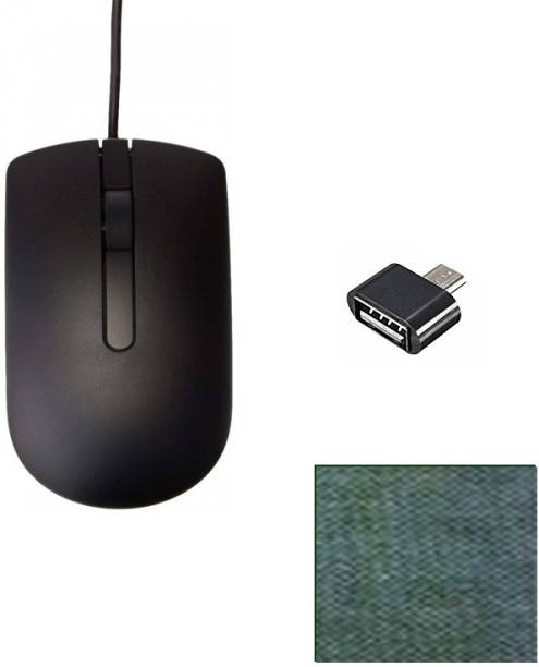 DELL 1 WIRED OPTICAL MOUSE GRIP WITH COMFORTABLE LONG CABLE Micro USB OTG Adapter 1 MOUSE PAD COMBO SET BEST QUALITY Combo Set