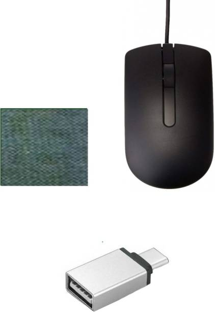 DELL 1 WIRED OPTICAL MOUSE GRIP WITH COMFORTABLE LONG CABLE Type C to Micro OTG Adapter for OTG Enabled Type C Devices 1 MOUSE PAD COMBO SET BEST QUALITY Combo Set