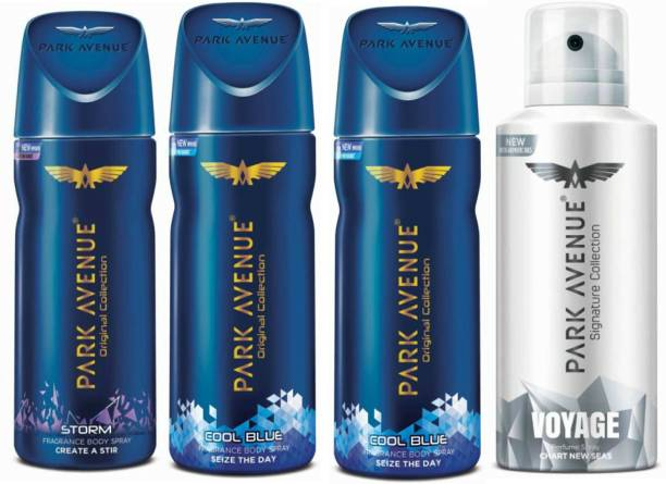 PARK AVENUE One Storm, Two Cool Blue, One Voyage Signature Deodorant Combo for Men(Pack of 4) Deodorant Spray  -  For Men