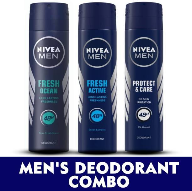 NIVEA MEN Deodorant Combo, Fresh Active, Fresh Ocean, Protect & Care, 150 ml each Deodorant Spray  -  For Men