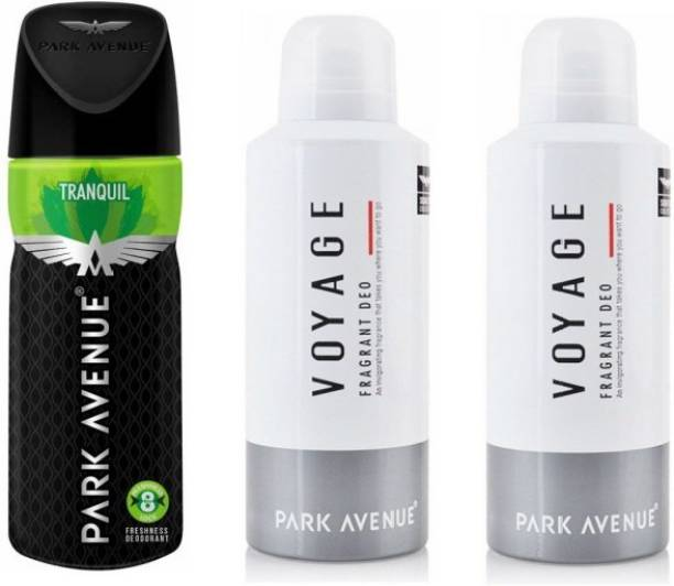 PARK AVENUE 1 Tranquil and 2 Voyage Deodorant Combo Pack of 3 Deodorant Spray  -  For Men