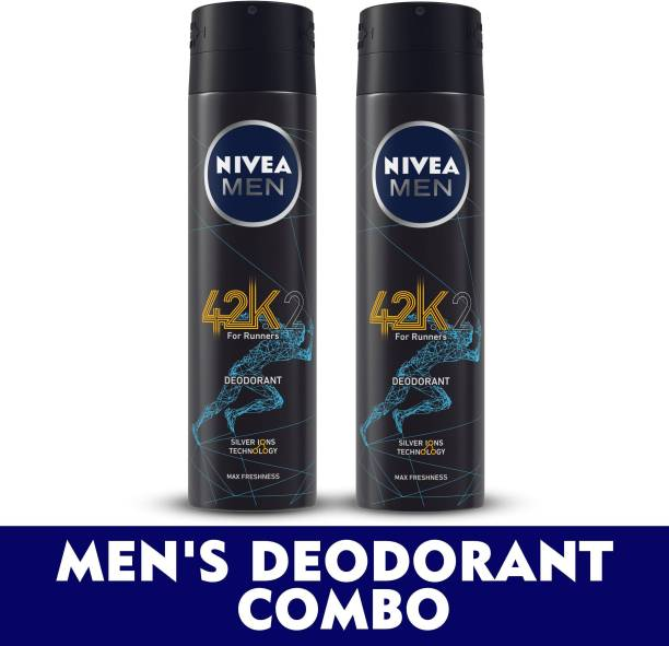 NIVEA MEN Deodorant Combo, 42k, | with Silver Ions Technology for Max Freshness | Reduces up to 99.9% Odour-causing Bacteria 150 ml each Deodorant Spray  -  For Men