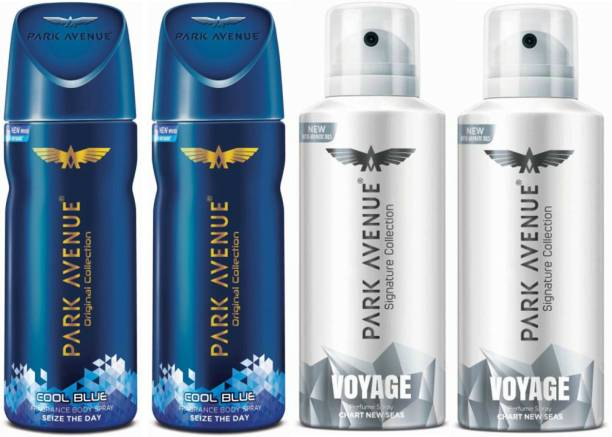 PARK AVENUE Two Cool Blue, Two Voyage Signature Deodorant Combo for Men(Pack of 4) Deodorant Spray  -  For Men