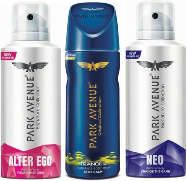 PARK AVENUE 1 Alter Ego & 1 Tranquil & 1 Neo Deodorant Spray  -  For Men