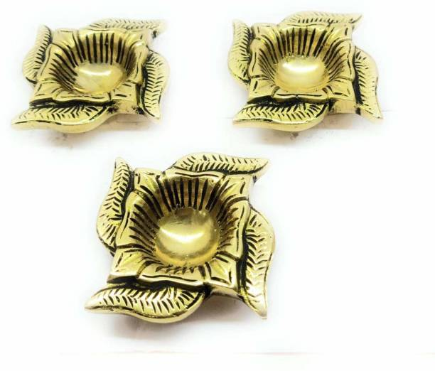 RAMA METAL RAMA METAL BRASS SWASTIK DESIGNED DIYA (PACK OF 3) Brass (Pack of 3) Table Diya Set