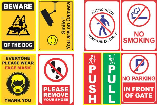 Niby CC Tv, Beware of Dog, Remove Your Shoes, Wear Face Mask, No Smoking, No Parking, Authorized Personnel, PUSH PULL Emergency Sign
