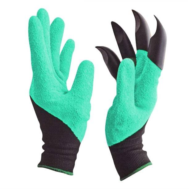Easyhome Gloves for Garden Work 1 Pair, Superior Grip Coating Durable Comfortable Breathable for Gardening Auto Multi-Purpose (Black and Green) Gardening Shoulder Glove