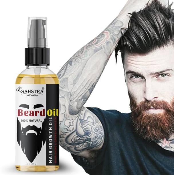 SAHSTRA Advance Beard Oil In Beard Oil Hair Oil, Beard Oil For Beard And Mooch Growth, Men Fast Growth Hair Oil (50 ml) Hair Oil