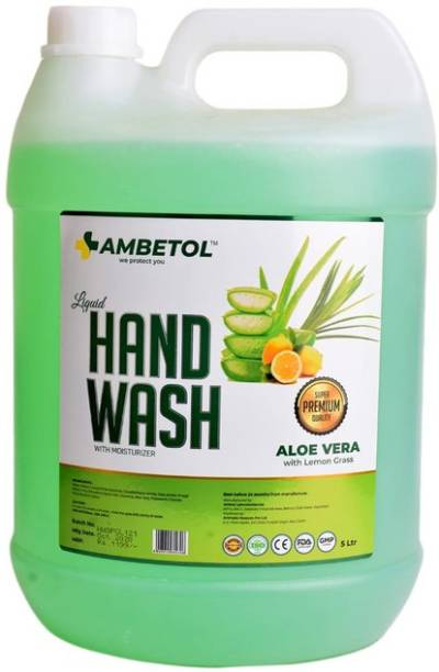 Ambetol Liquid Handwash With Moisturizer Enriched with the Goodness of Aloe Vera & Lemongrass-5 LTR Hand Wash Can