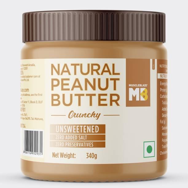 MuscleBlaze Natural Peanut Butter Unsweetened, Crunchy 340 g