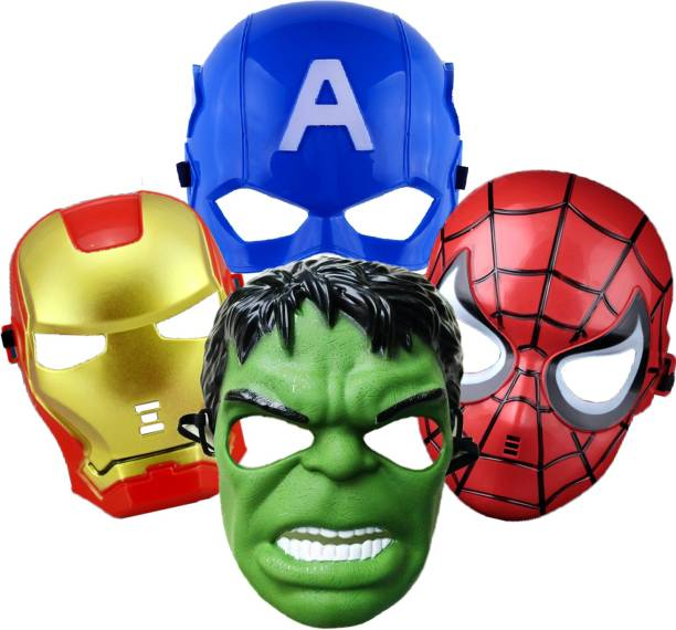 Party Propz Super Hero Cartoon Plastic Mask - Set of 4 Avengers Birthday Party Props Return Gift ( Captain America, Hulk, Iron Man & Spiderman) Party Mask