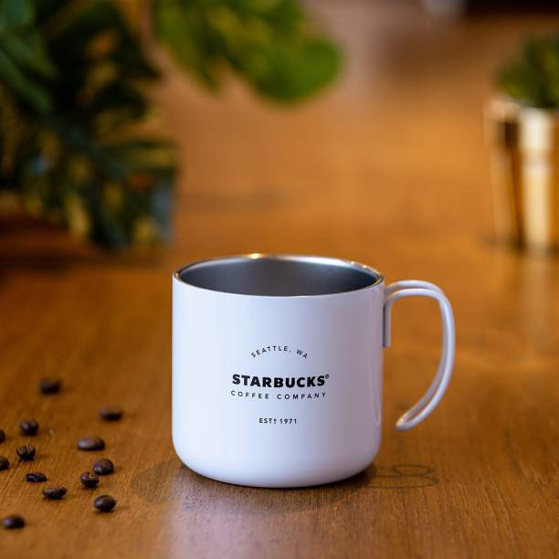 Starbucks White Gatherings Stainless Steel Coffee Mug