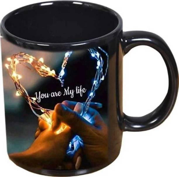 """Murli Textiles PASHUPATASTRA """"You Are My Life"""" (Couple Heart)"""" Classic Stylish Black Coffee Gift For Friends, Lovers, Valentine's day, Anniversary Gift, Black Patch (350ml) Ceramic Coffee Mug"""