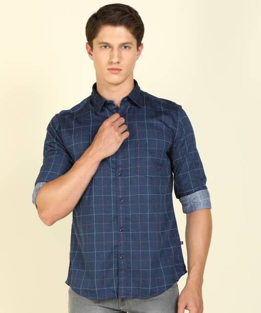 PARX Men Checkered Casual Dark Blue Shirt