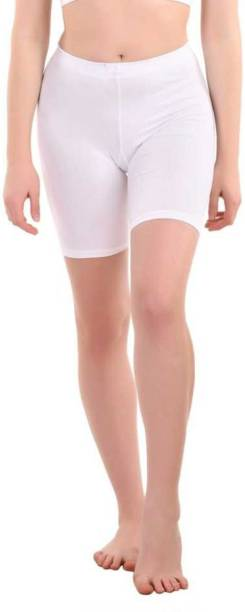 Apraa & Parma Solid Women White Cycling Shorts