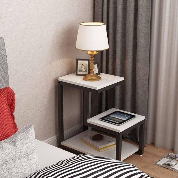 PRITI Modern End Tables, 3-Tier Chair Side Table Night Stand with Storage Shelf for Living Room, Bedroom, Entryway (White) Engineered Wood End Table