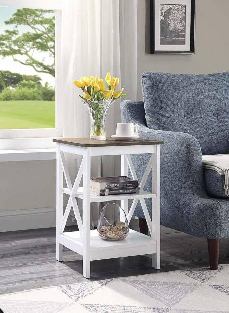 PRITI Convenience Concepts Oxford End Table, Driftwood/White Engineered Wood End Table