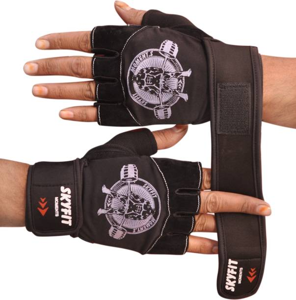 SKYFIT Comfortable Leather Padded Gym Sports Gloves For Men and Women Gym & Fitness Gloves