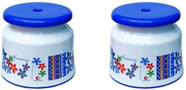 ARISERS Plastic Bathroom Stools pack of 2 with printed Floral design (Blue) Bathroom Stool