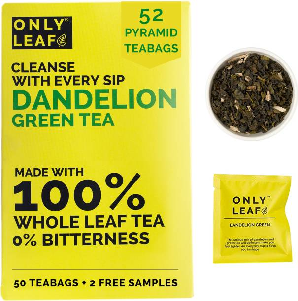 Onlyleaf Dandelion Green Tea, Made with 100% Whole Leaf & Natural Dandelion Roots, 52 Pyramid Tea Bags (50 Tea Bags + 2 Free Samples) Herbs Green Tea Bags Box