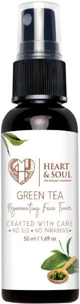 Heart And Soul Green Tea Regenerating Face Toner; 100% Pure and Natural; No Parabens; No SLS; 50ml Men & Women
