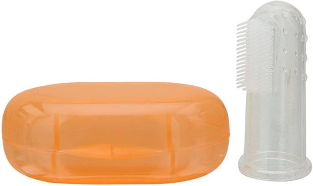 Sharma Clothing Extra Safe, Oral Hygiene, Transparent Silicone Finger Brush Tongue Cleaner for Baby Teething/Gums with Attractive Case Ultra Soft Toothbrush