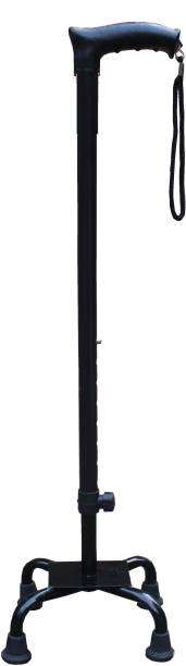 KDS SURGICAL 4 Leg Black Height Adjustable For Unisex With Support Walking Stick