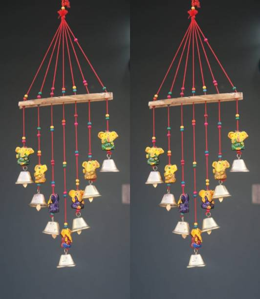 A3 BOX Handcrafted Rajasthani Bells Design Wall Hanging Decorative Copper Windchime