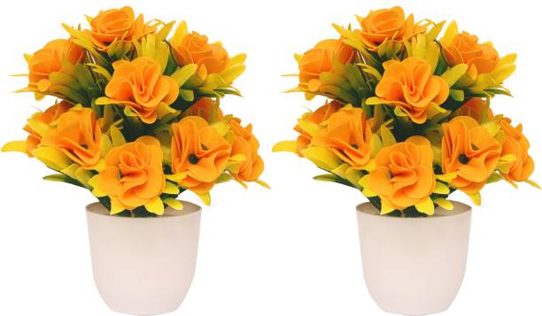 NERAPI Yellow Shining Rose Flower (Pack of 2) Wild Artificial Plant  with Pot