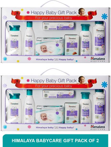 HIMALAYA Babycare Gift Pack[Baby shampoo, Massage Oil, Baby wipes, Baby soap, Baby lotion, Baby powder, Diaper rash cream] (Pack of 2)