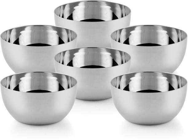 LIMETRO STEEL Stainless Steel Pack of 6 Serving Bowl Set for Kitchen ( Pack of 6 , Size: 10 CM) Stainless Steel Serving Bowl