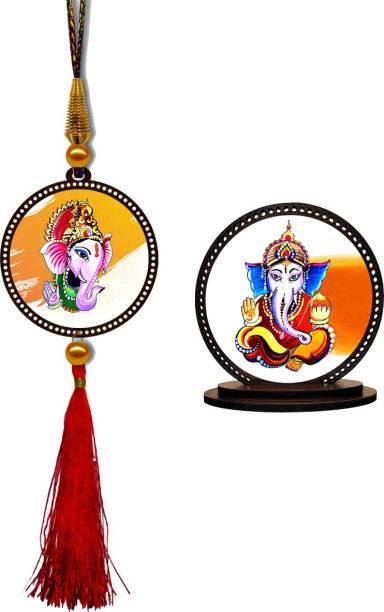 GiftzLane Ganesha Car Hanging Premium & Car Dashboard Idol Showpiece Combo Car Hanging Ornament