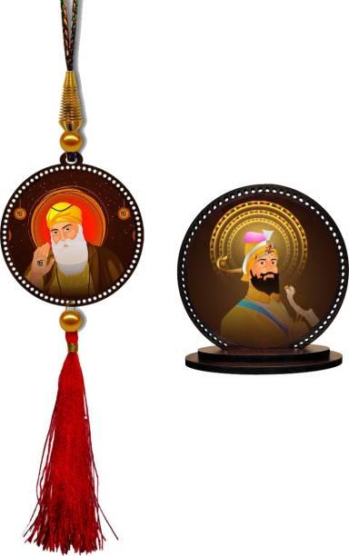 GiftzLane Guru Nanak Dev Ji Car Hanging Premium & Guru Gobind Singh Car Dashboard Idol Showpiece Combo Car Hanging Ornament