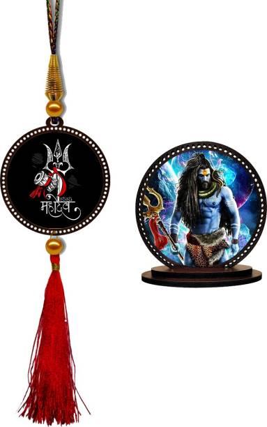 GiftzLane Mahadev Car Hanging Premium & Shiva Rudra Car Dashboard Idol Showpiece Combo Car Hanging Ornament