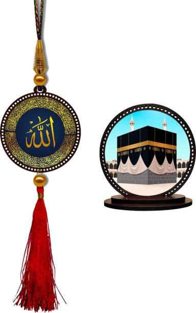 GiftzLane Allah Car Hanging Premium & Mecca Madina Car Dashboard Idol Showpiece Combo Car Hanging Ornament