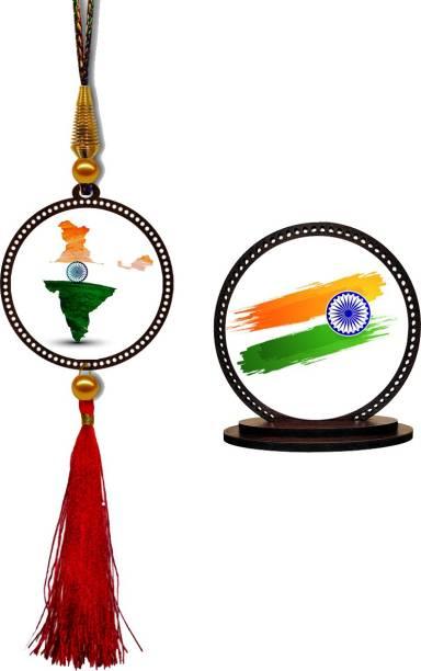 GiftzLane I Love My India Car Hanging Premium & Car Dashboard Idol Showpiece Combo Car Hanging Ornament