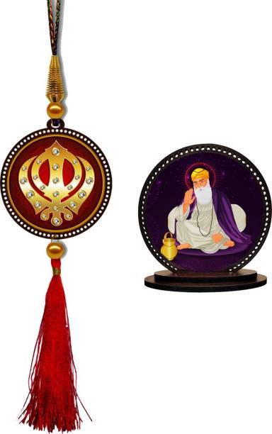 GiftzLane Sikh Khanda Car Hanging Premium & Guru Nanak Dev Ji Car Dashboard Idol Showpiece Combo Car Hanging Ornament
