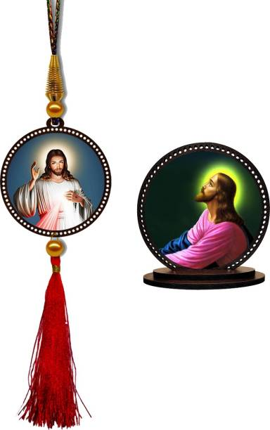 GiftzLane Jesus Car Hanging Premium & Car Dashboard Idol Showpiece Combo Car Hanging Ornament